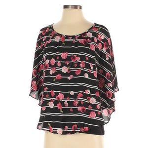 NWT Elle Floral Striped Flutter Sleeve Blouse XS